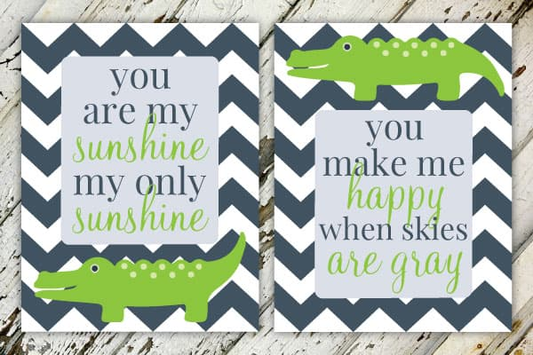 You Are My Sunshine   Alligator Boy's Nursery Print Set   Set of 2   Print-It-Yourself